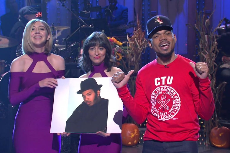 Heidi Gardner, Melissa Villaseñor, and Chance the Rapper on the SNL stage.