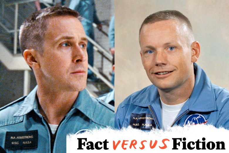 Side by side photo of Ryan Gosling in his portrayal of Neil Armstrong, and a photo of Neil Armstrong in his NASA flight suit.