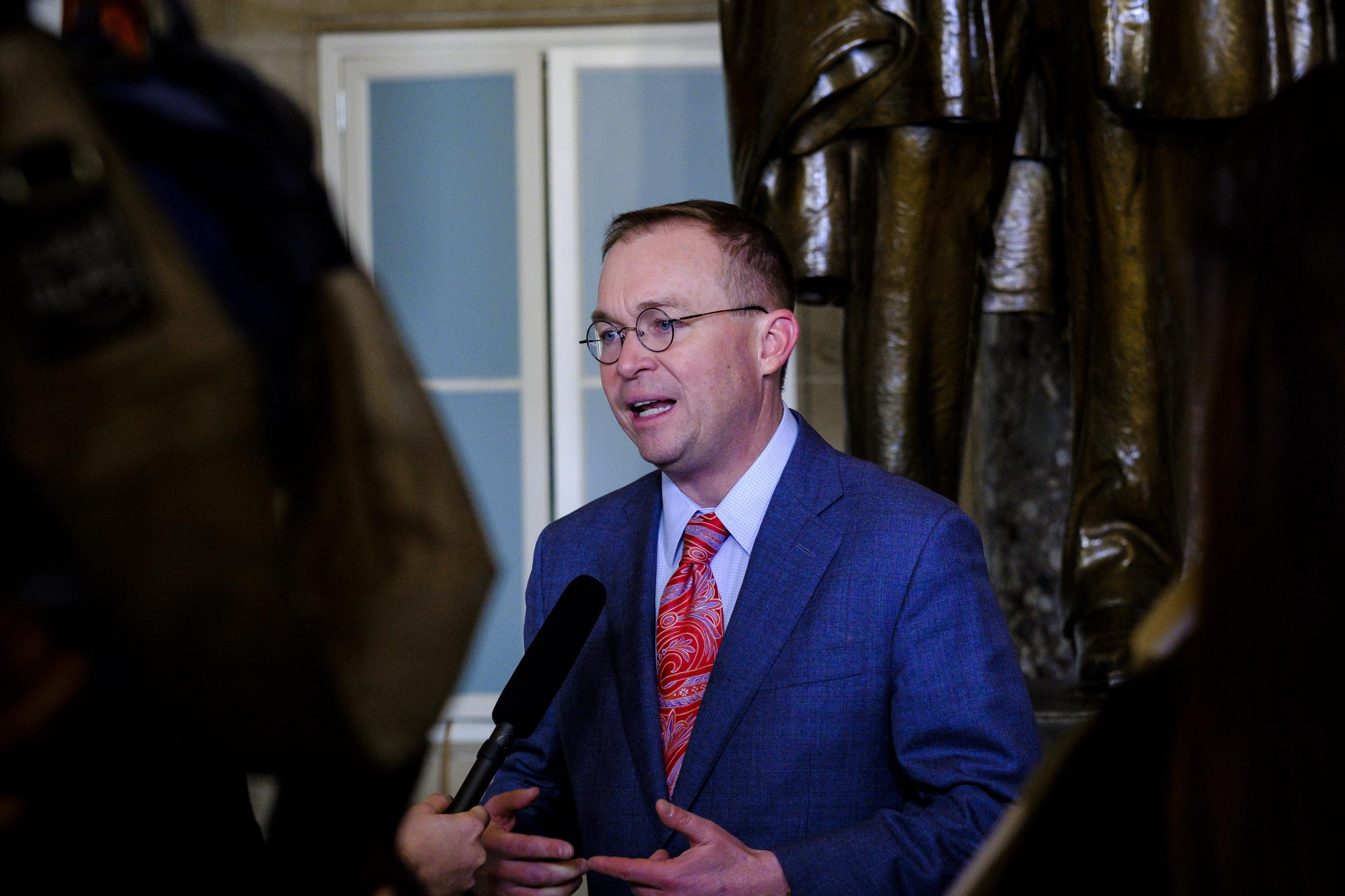 WASHINGTON, DC - JANUARY 30:  President Trump's Budget Director, Mick Mulvaney, is interviewed in Statuary Hall at the US Capitol before President Donald Trump's first State of the Union Address before a joint session of Congress on January 30, 2018 in Washington, DC.  (Photo by Pete Marovich/Getty Images)
