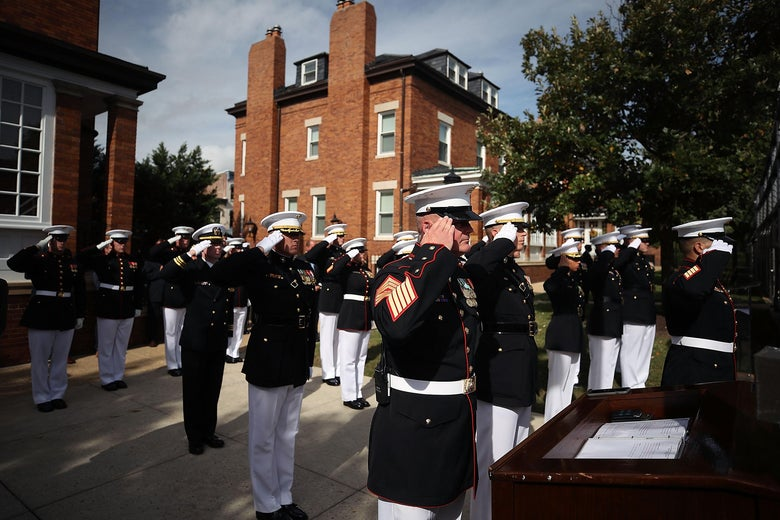 WASHINGTON, DC - OCTOBER 23:US Marines salute during a ceremony to commemorate the anniversary of the 1983 bombing of the Marine barracks in Beirut, Lebanon, at the Marine barracks on October 23, 2017 in Washington, DC. 34 years ago today terrorist detonated two truck bombs at a building that housed US troops, killing 220 Marines, 18 sailors and 3 soldiers.  (Photo by Mark Wilson/Getty Images)