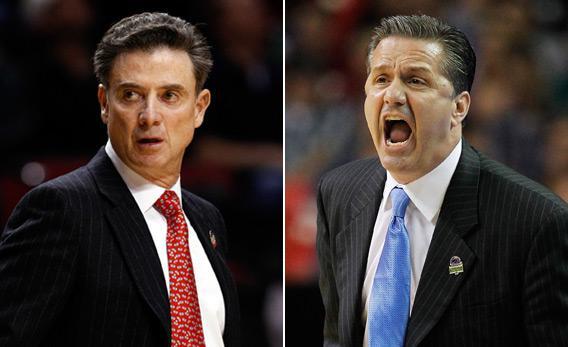 Head coaches Rick Pitino of the Louisville Cardinals and John Calipari of the Kentucky Wildcats.