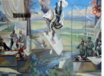 The Gary Powers mural in Yekaterinburg train station