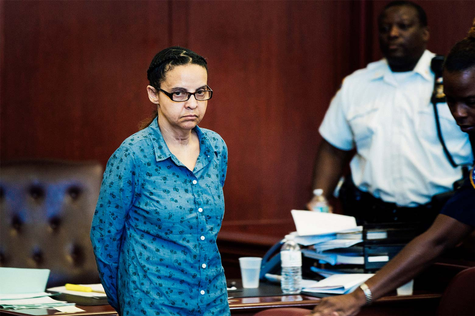 Yoselyn Ortega arrives for a hearing for her trial at Manhattan Supreme Court in New York City on July 8, 2013.