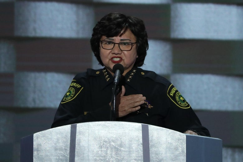 PHILADELPHIA, PA - JULY 28: Dallas Sheriff Lupe Valdez delivers remarks on the fourth day of the Democratic National Convention at the Wells Fargo Center, July 28, 2016 in Philadelphia, Pennsylvania. Democratic presidential candidate Hillary Clinton received the number of votes needed to secure the party's nomination. An estimated 50,000 people are expected in Philadelphia, including hundreds of protesters and members of the media. The four-day Democratic National Convention kicked off July 25. (Photo by Alex Wong/Getty Images)