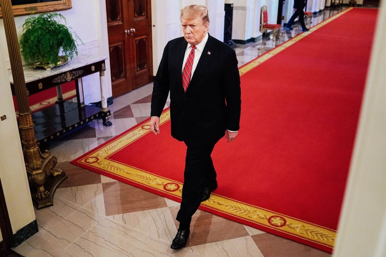 U.S. President Donald Trump arrives for a First Step Act celebration at the White House on Monday.