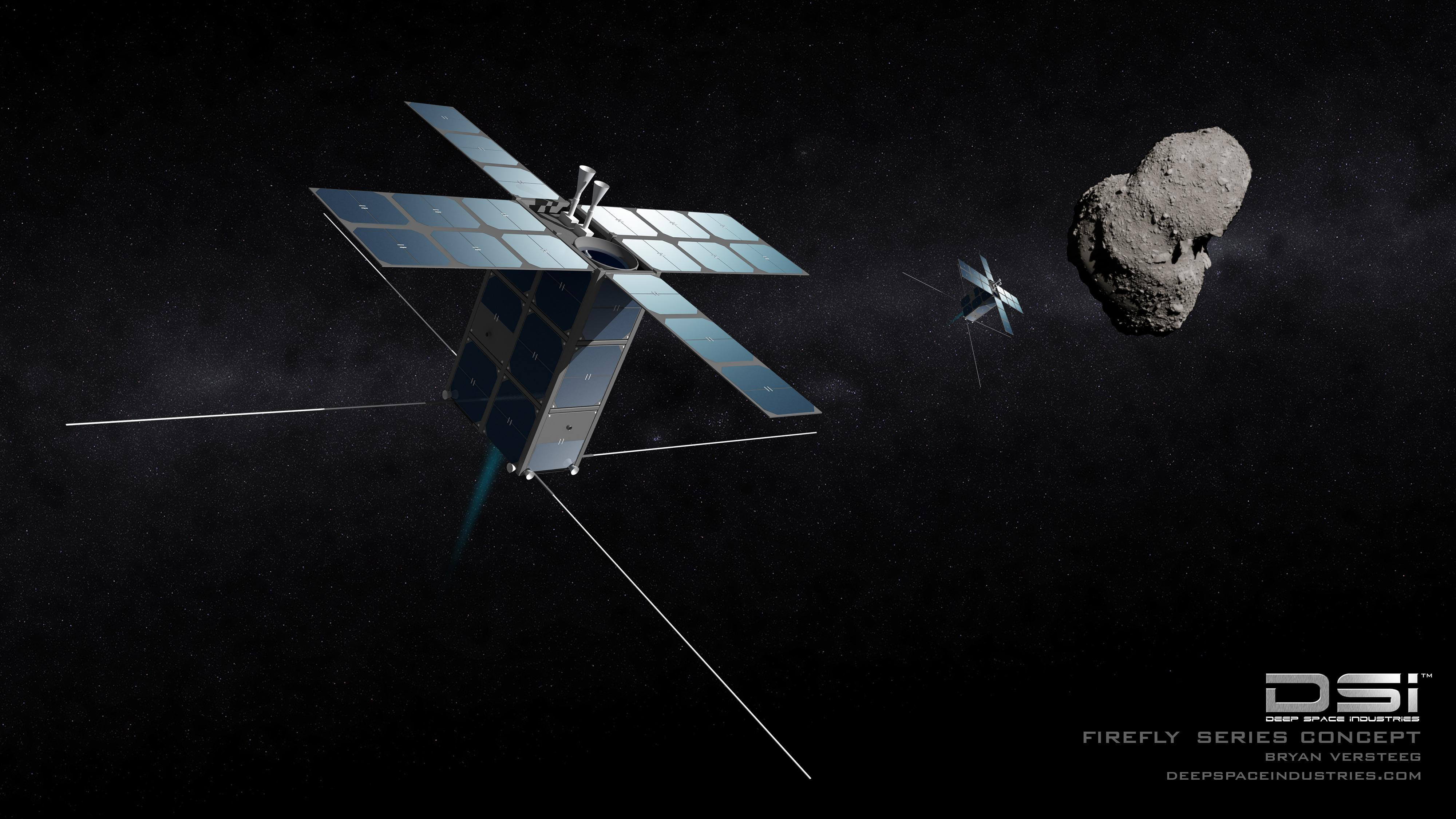 """A drawing shows what Deep Space Industries' initial """"FireFly"""" craft might look like as they explore a small asteroid up-close."""