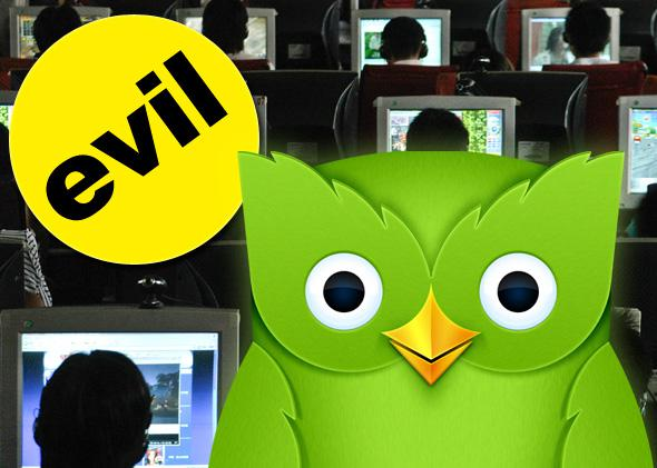 "Duolingo owl, Buzzfeed ""evil"" badge, people use computers at an Internet cafe in Changzhi, north China's Shanxi province June 20, 2007."