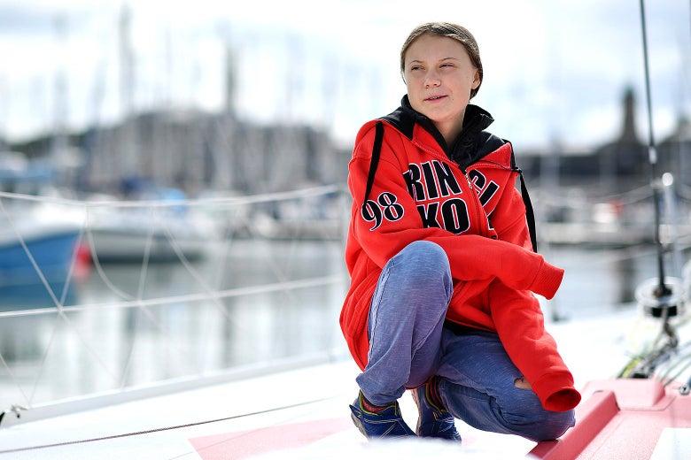 Greta Thunberg aboard a yacht.