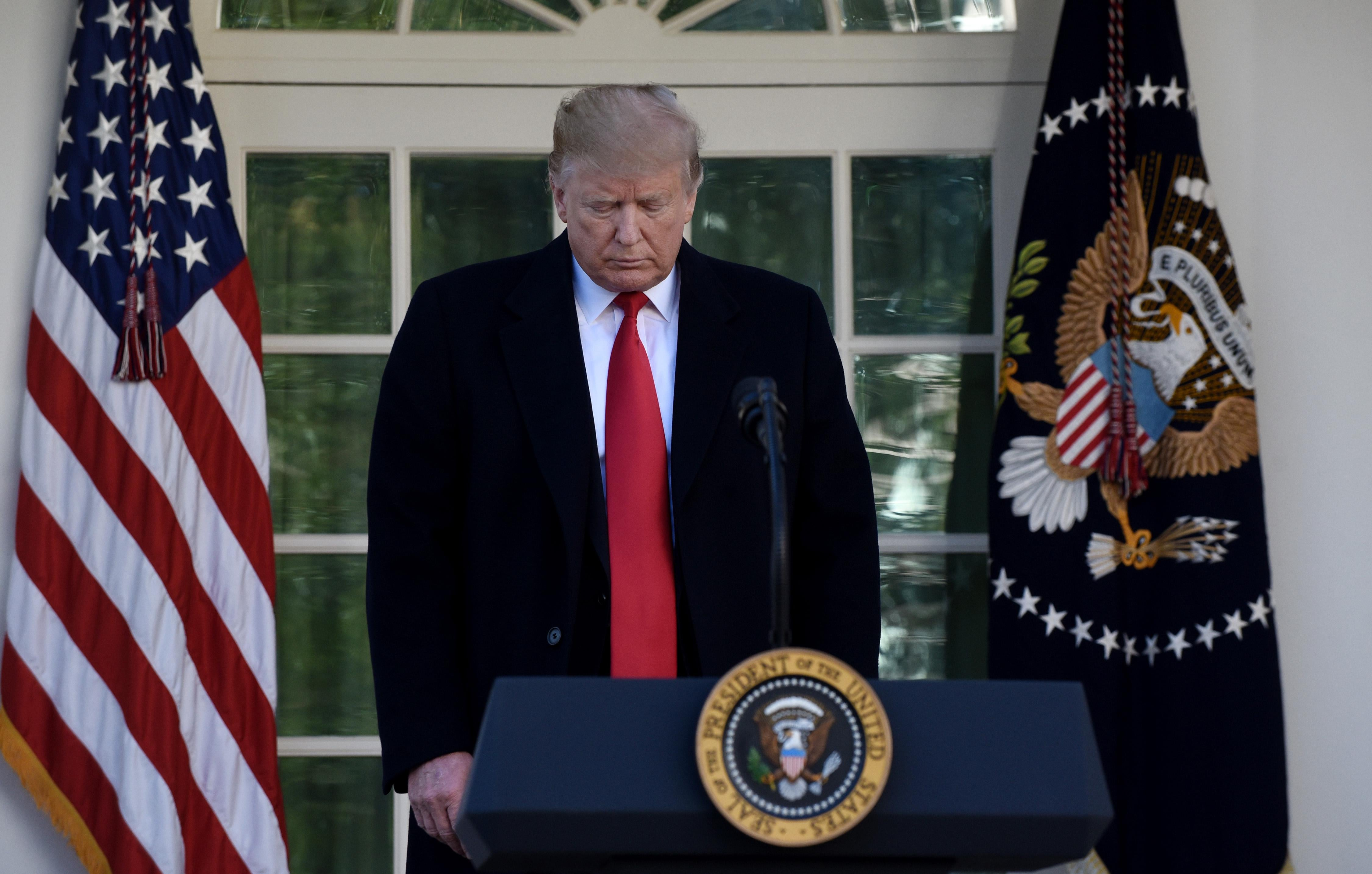 President Donald Trump makes a statement announcing that a deal has been reached to reopen the government through Feb. 15 during an event in the Rose Garden of the White House on January 25, 2019.
