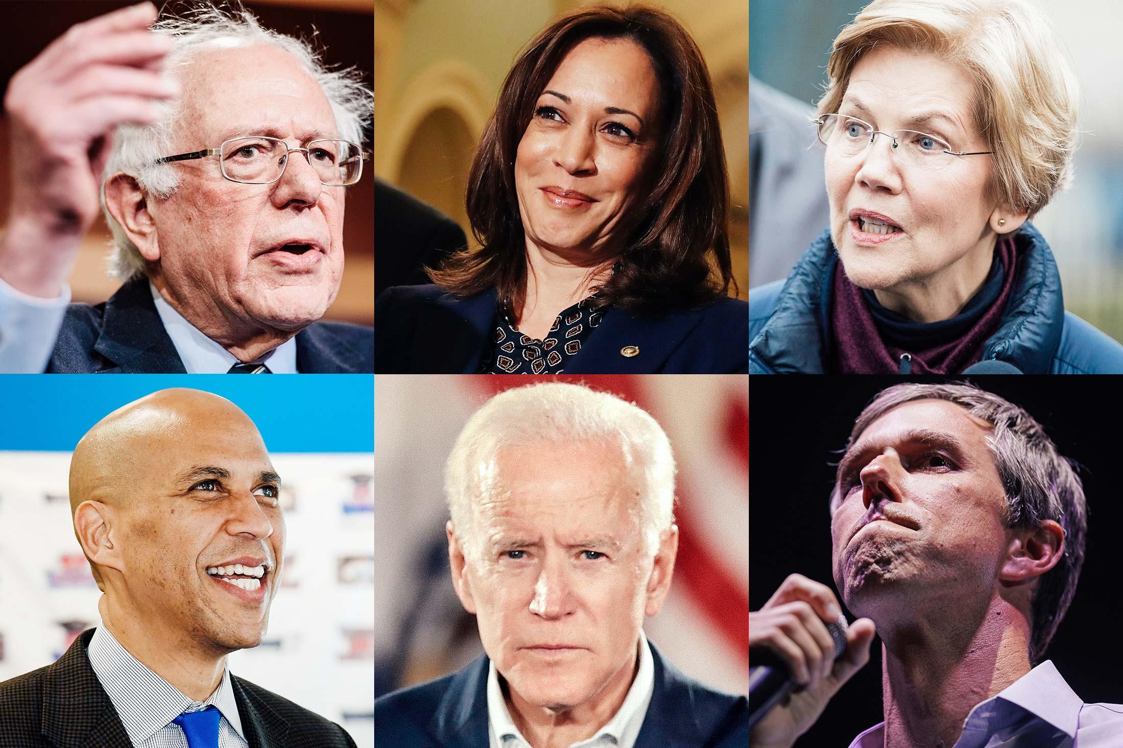 Bernie Sanders, Kamala Harris, Elizabeth Warren, Beto O'Rourke, Joe Biden, and Cory Booker.
