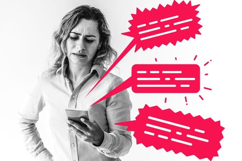 A woman grimacing at her phone, which has angry-looking text bubbles coming out of it.