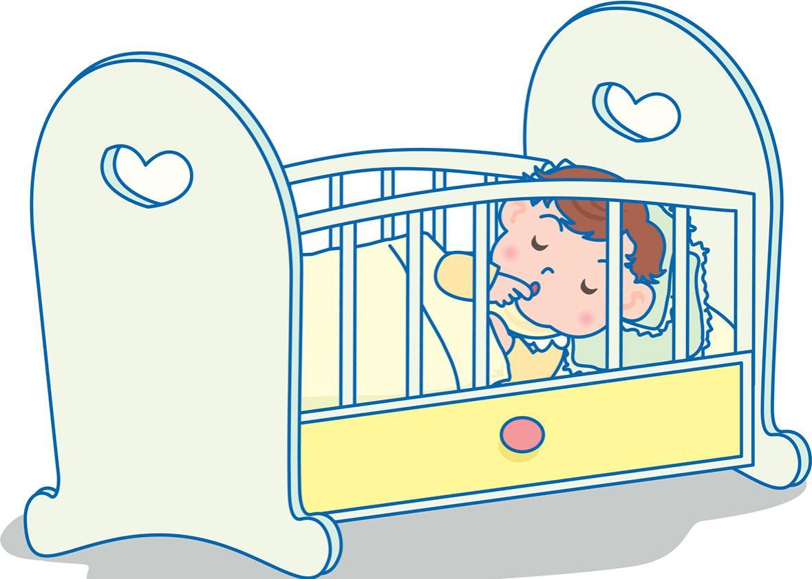 Рисунок ребенок спит в кроватке