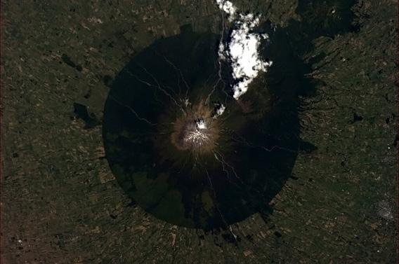 Mt. Taranaki photographed by an astronaut in space