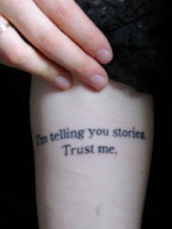 A fan displays a Jeanette Winterson tattoo.