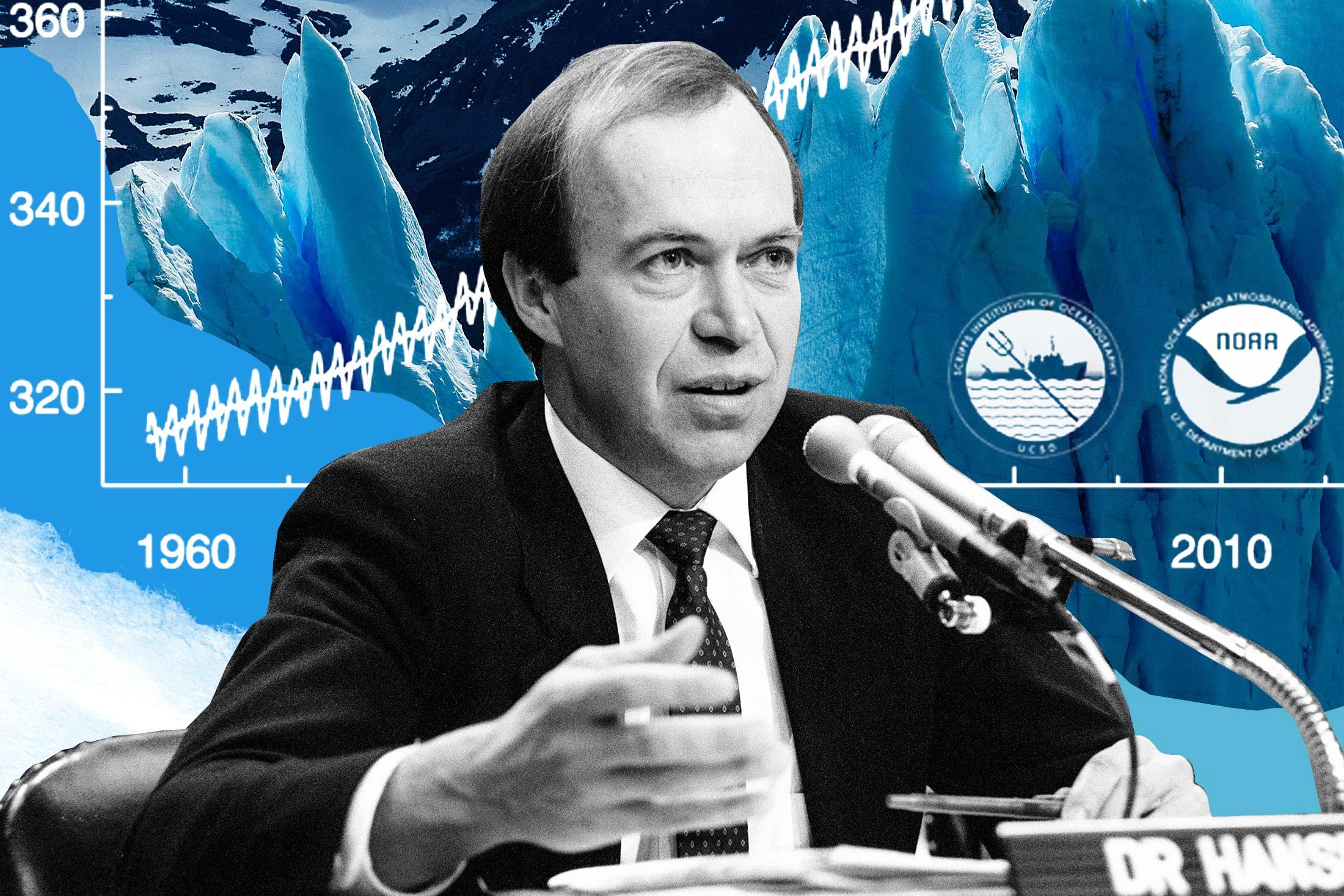 James Hansen collaged in front of the Perito Moreno glacier in Argentina.