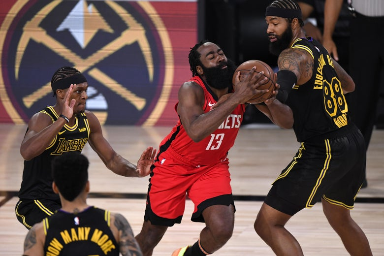 James Harden drives the ball against Markieff Morris of the Los Angeles Lakers.