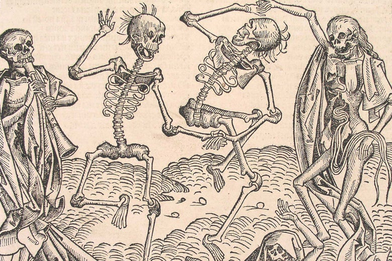 A 15th century woodcut of the Danse Macabre, showing three skeletons dancing wildly while a fourth plays a pipe.