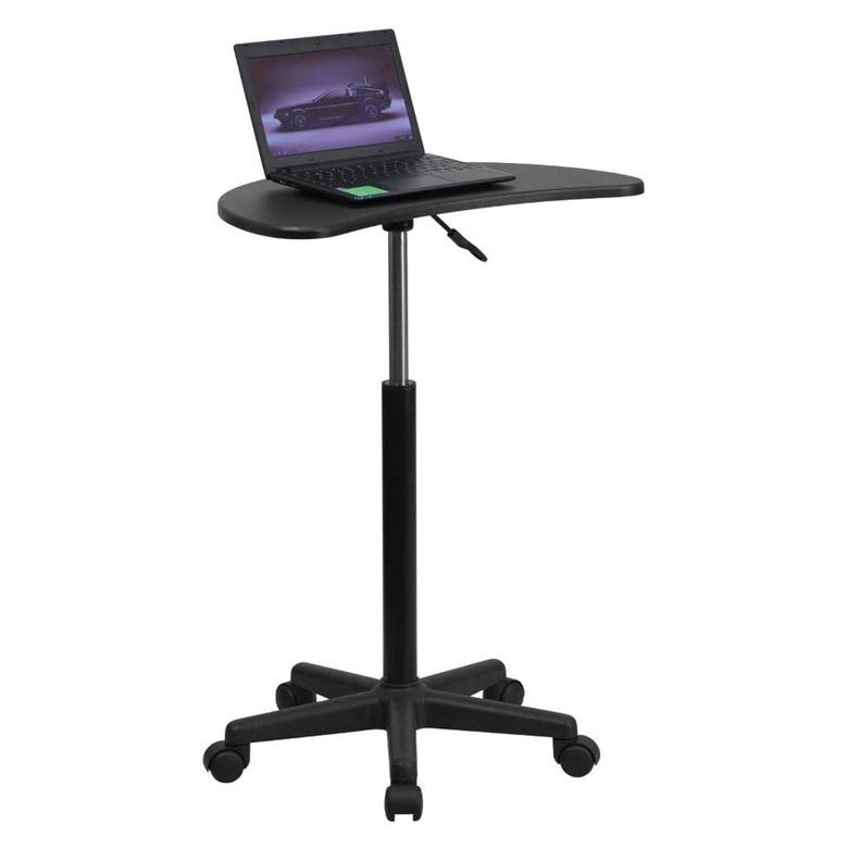 A standing desk with rollers.