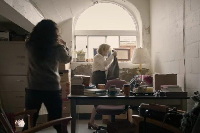 Dr. Kim visits Joan's shabby new office.
