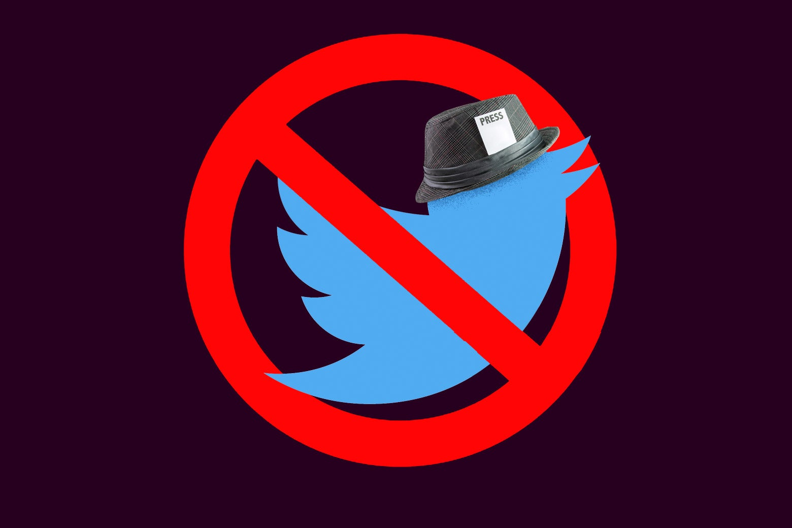 "Twitter bird wearing a fedora that has a ""PRESS"" card in the hatband, overlaid with the no symbol."