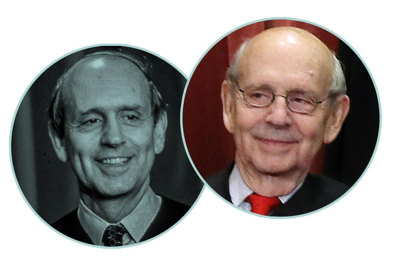 Justice Stephen Breyer in 1994 and 2018.