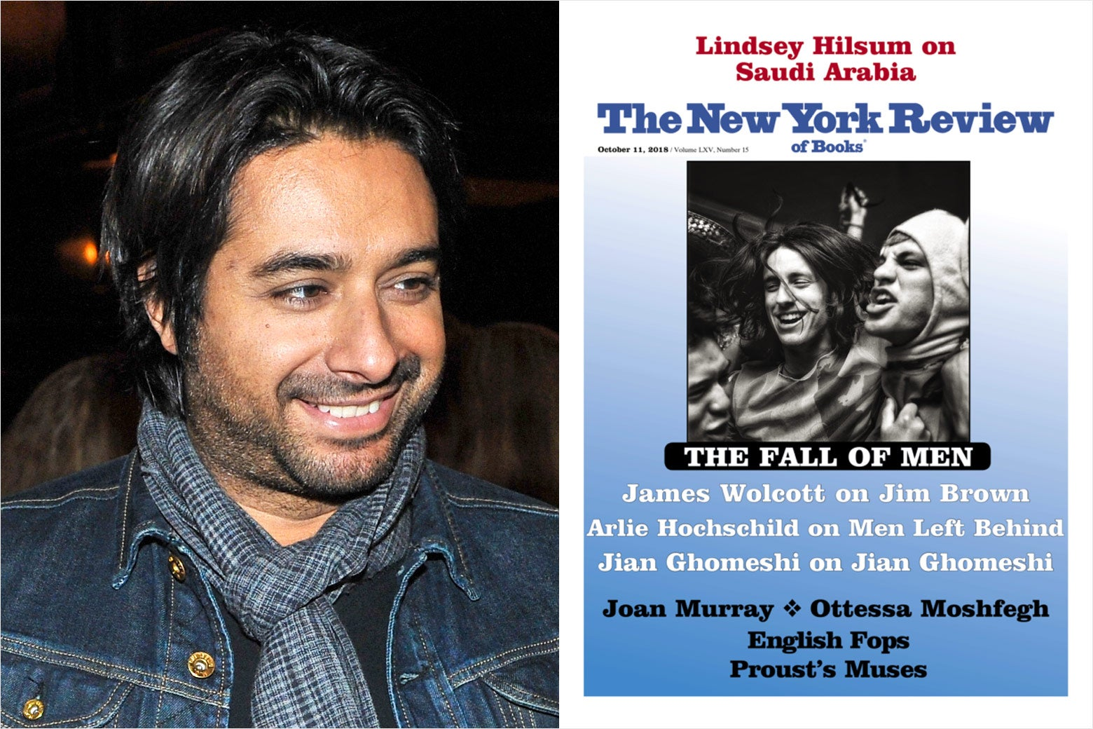 "Jian Ghomeshi and the New York Review of Books cover with the ""Fall of Men"" cover package."