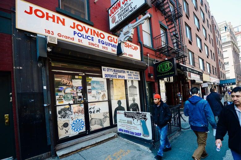 The John Jovino gun shop storefront.