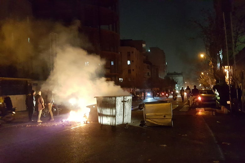 People protest in Tehran, Iran on December 30, 2017 in this picture obtained from social media.