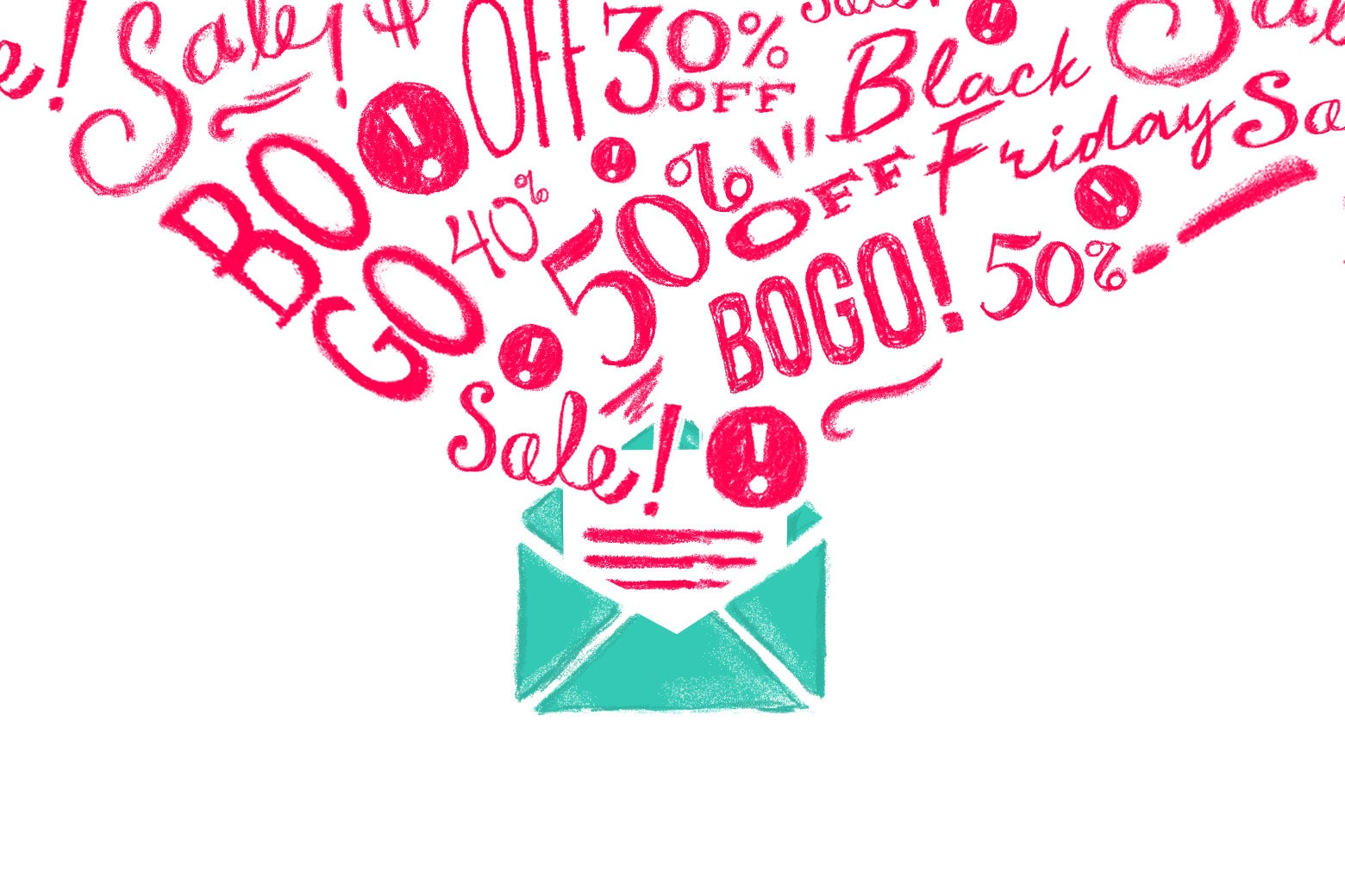 """An envelope with promotional language spilling out of it—""""Black Friday,"""" """"BOGO,"""" """"50% off,"""" """"Sale!"""""""