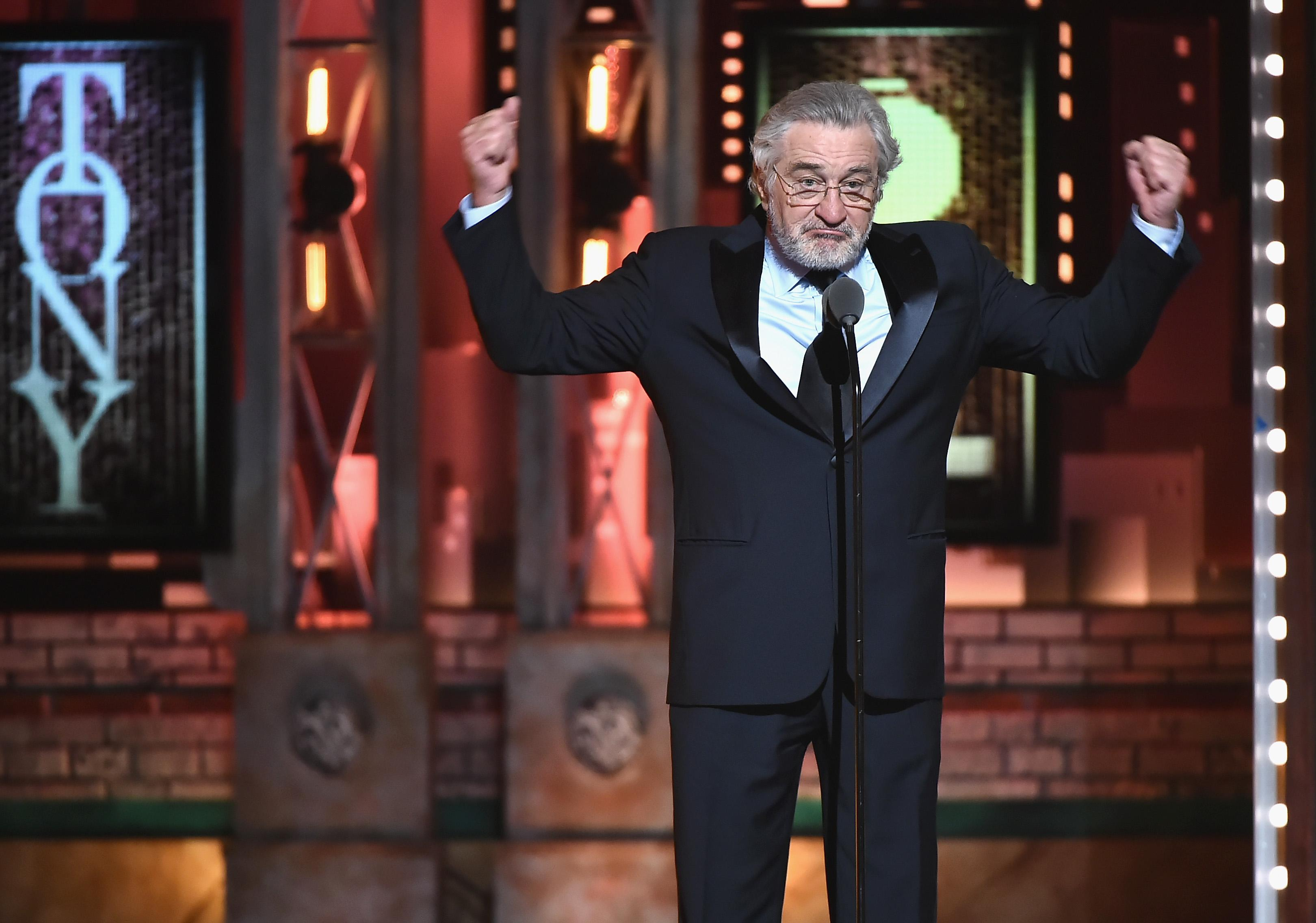 Robert De Niro, winning the Tony Awards.
