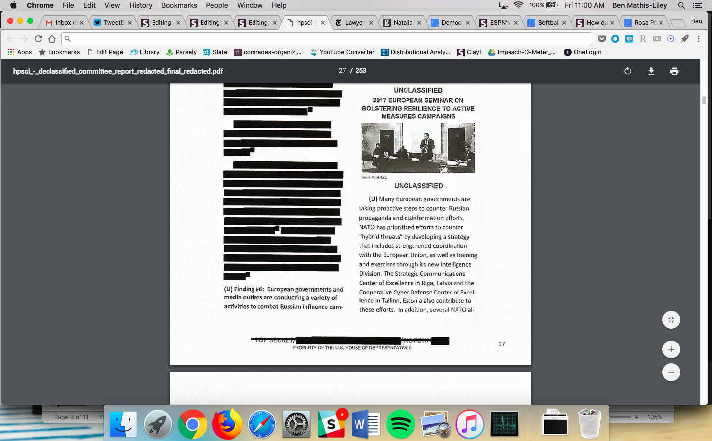 A page of the House Intel Committee's blurry Russia report.