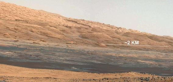 Mount Sharp in August. The lower several hundred feet show evidence of hydrated minerals.