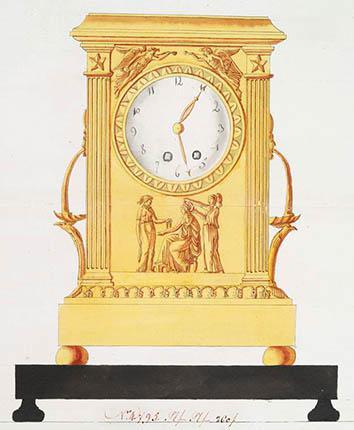Sketch of a French Empire clock in bronze doré circa 1805.,Sketch of a French Empire clock in bronze doré circa 1805.