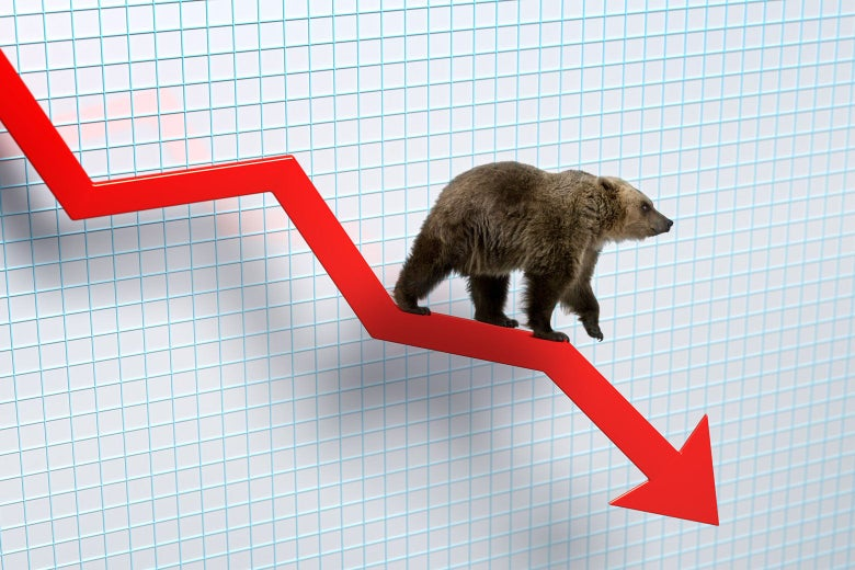 A bear walks on a red, downward-sloping arrow on a stock chart.