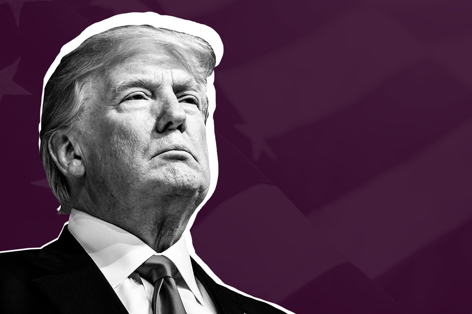 President Donald Trump against a purple background.
