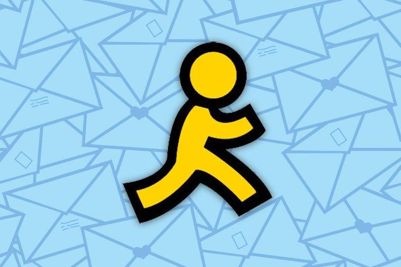 An AOL buddy running through envelopes.