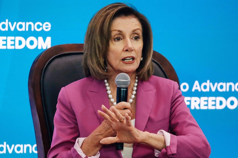 House Speaker Nancy Pelosi speaks at the State Department on Tuesday, July 16, 2019.