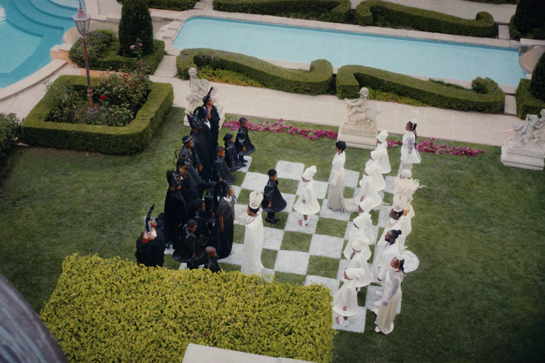 Overhead view of human chessboard