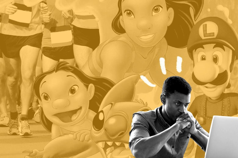 A man looking stressed at his laptop, overlaid on a collage of people running and images from Lilo & Stitch and Luigi's Mansion 3.