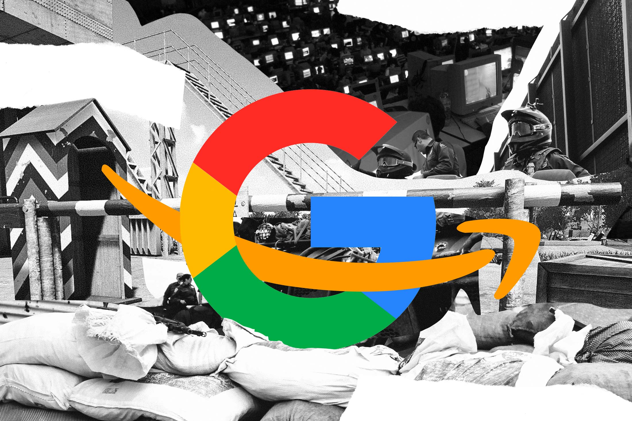 Google and Amazon logos intertwined at a photomontage of a barricade blocking access to computer terminals.