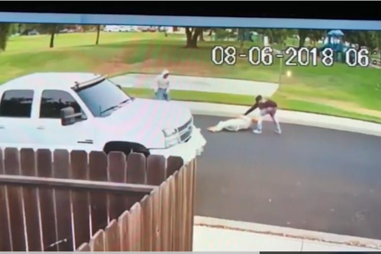 A still from a surveillance video showing two men attacking Sahib Singh Natt.