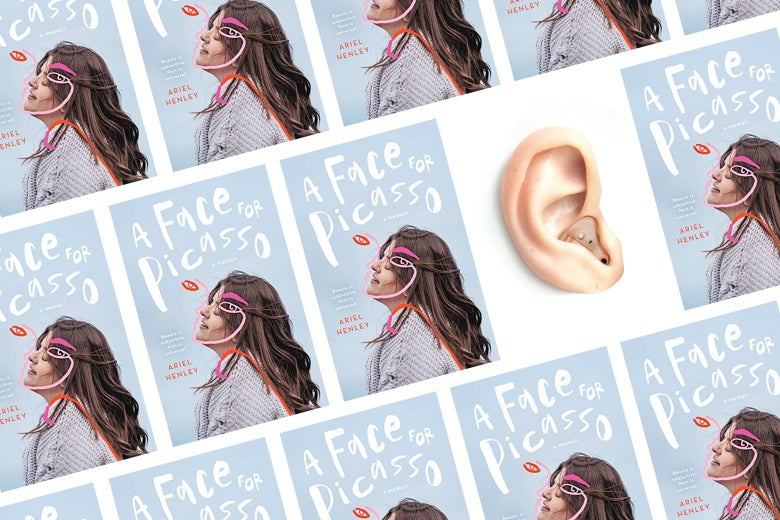 The cover of A Face for Picasso is seen multiple times, along with a big ear that has a hearing aid inside.