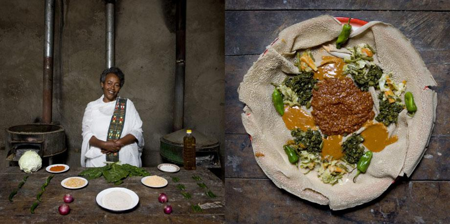 Bisrat Melake, 60 years old – Addis Ababa, Ethiopia– Enjera with churry and vegetables