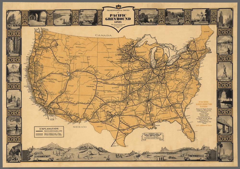 History of Greyhound: Map of Pacific Greyhound routes in 1935