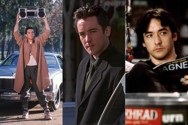 John Cusack in Say Anything, Grosse Pointe Blank, and High Fidelity.