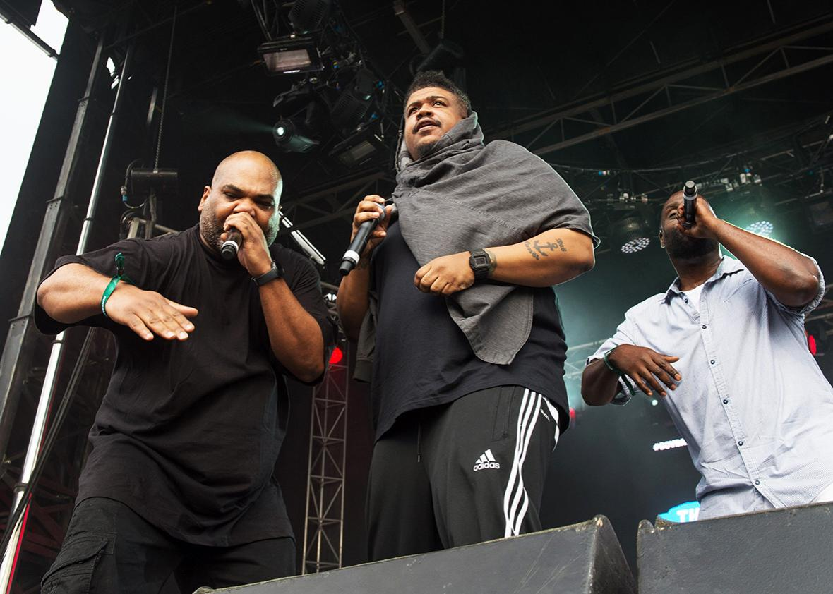 De La Soul members Mason, Dave Jolicoeur, and Posdnus perform at the Governors Ball Music Festival, June 4, 2016 in New York.