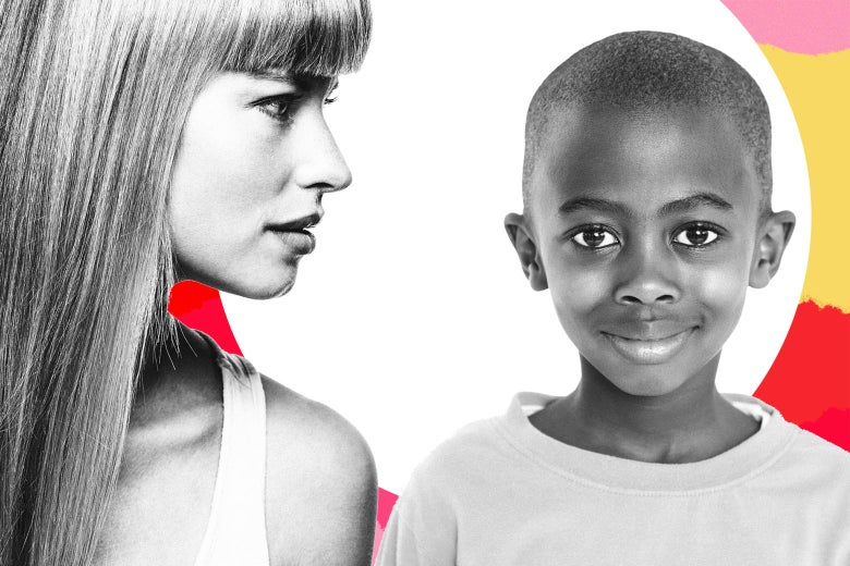 Photo illustration of a white woman and a black child.