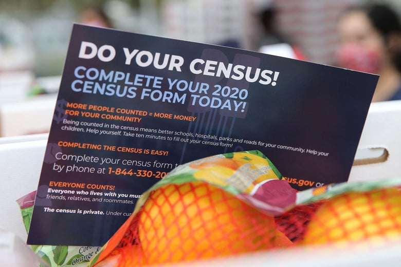 "A pamphlet reading ""Do Your Census!"" is see in a box next to some oranges."