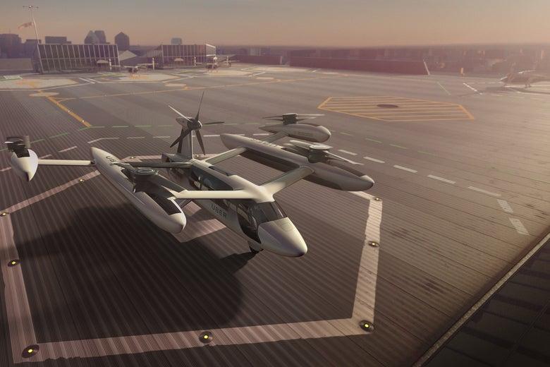 Uber's flying taxi prototype.