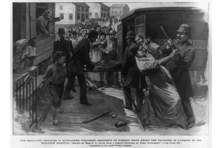 A historic sketch of a woman resisting police trying to take her to be quarantined.